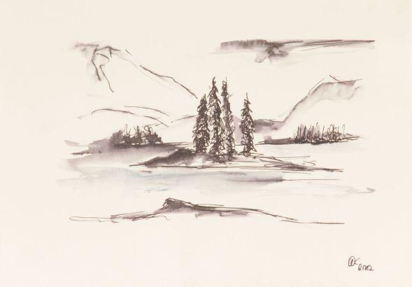 Berglandschaft Zeichnung; Federzeichnung