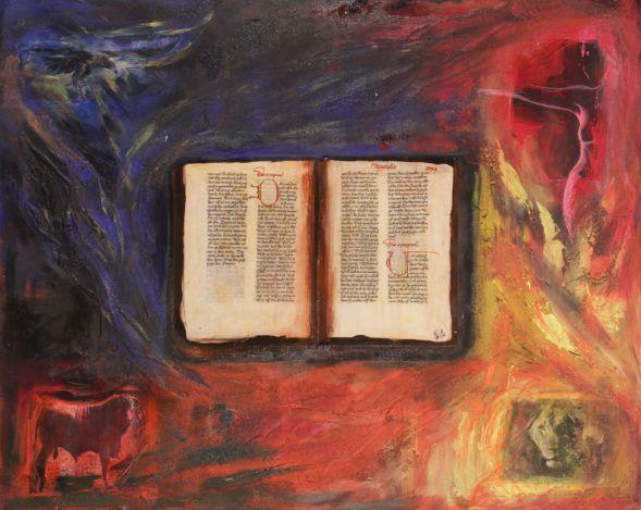Viergetier Buch; Collage in Acryl