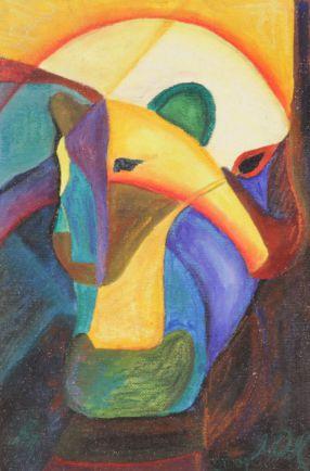 Viergetier Komposition 1; Acryl