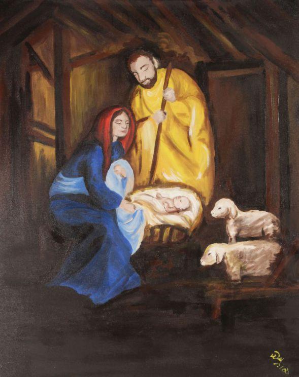 Heiligabend Bild; Guache