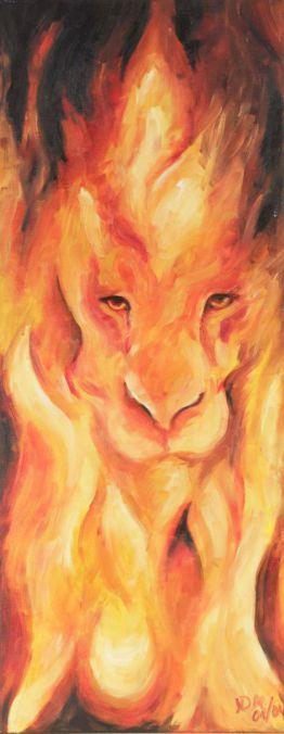 Löwe Feuer; Öl