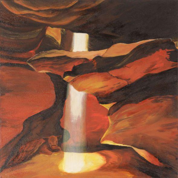 Kalb in der Grotte; Acryl
