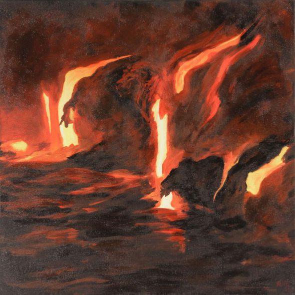Löwe im Vulkan; Acryl