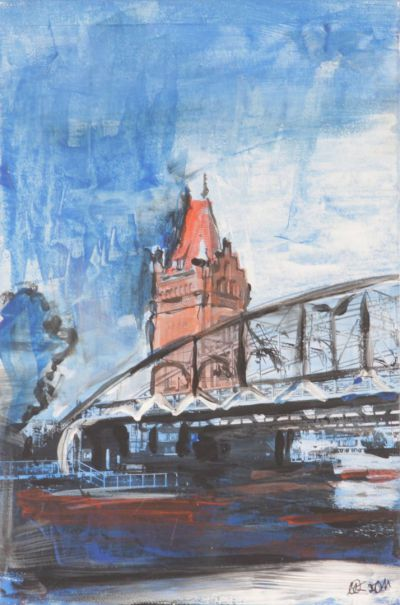 Lübeck Hubbrücke 5; Collage in Acryl
