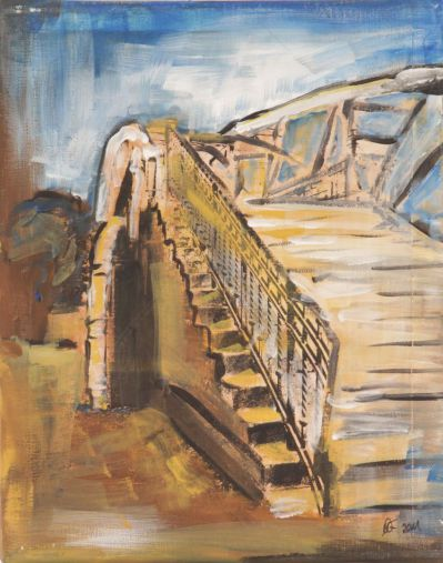 Lübeck Hubbrücke 2; Collage in Acryl