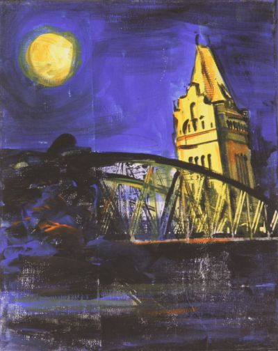 Lübeck Hubbrücke 1; Collage in Acryl