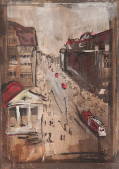 Hamburg Mönckebergstraße; Collage in Acryl