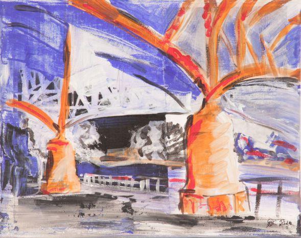 Lübeck Hubbrücke 4; Collage in Acryl