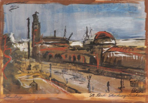 Hamburg Landungsbrücken1; Collage in Acryl
