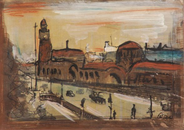 Hamburg Landungsbrücken 2; Collage in Acryl
