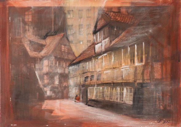 Altes Hamburg Bergedorf 1; Collage in Acryl