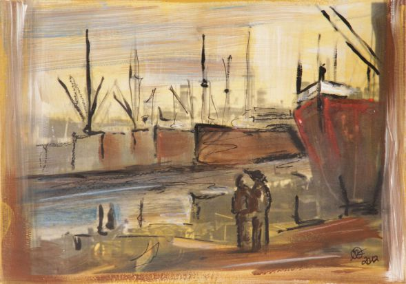 Hamburg Hafen1; Collage in Acryl