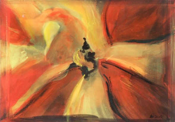 Tulpe 7; Collage in Acryl