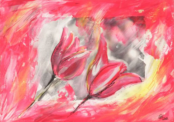 Tulpe 5; Collage in Acryl