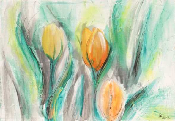 Tulpe 8; Collage in Acryl