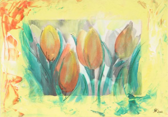 Tulpe 10; Collage in Acryl
