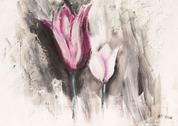 Tulpe 1; Collage in Acryl