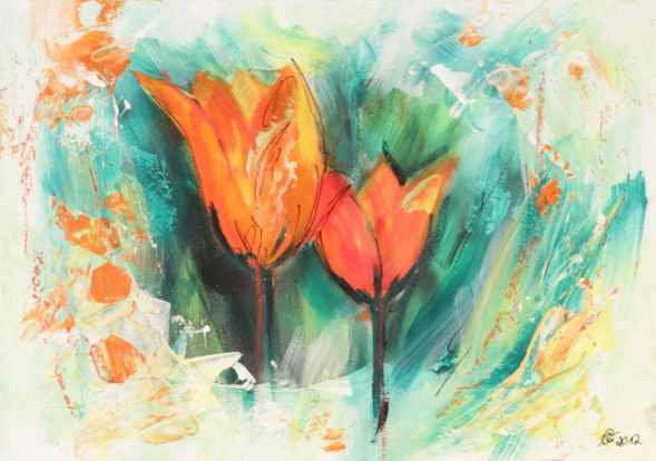 Tulpe 2; Collage in Acryl