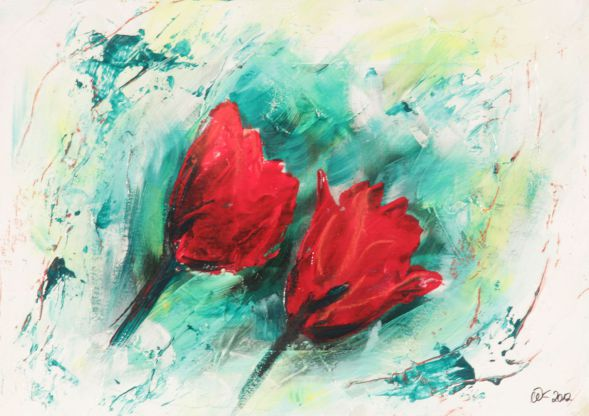 Tulpe 4; Collage in Acryl