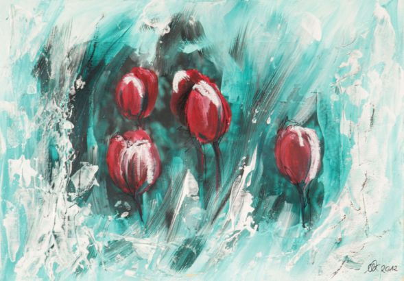 Tulpe 6; Collage in Acryl
