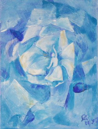 Blaue Blume; Spachteltechnik in Acryl