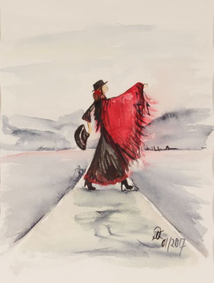 Flamenco am See; Aquarell