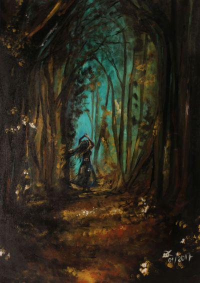 Waldtänzerin; Acryl